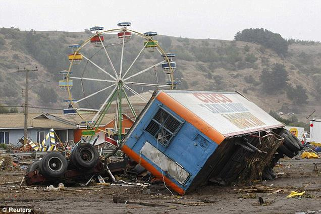 A local circus that was destroyed by the waves generated by a major earthquake is seen in Iloca