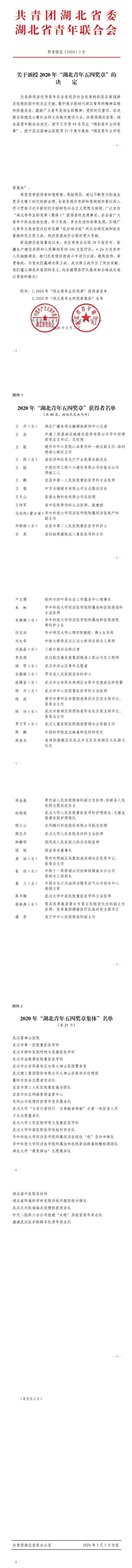 共青团湖北省委员会官方微信截图