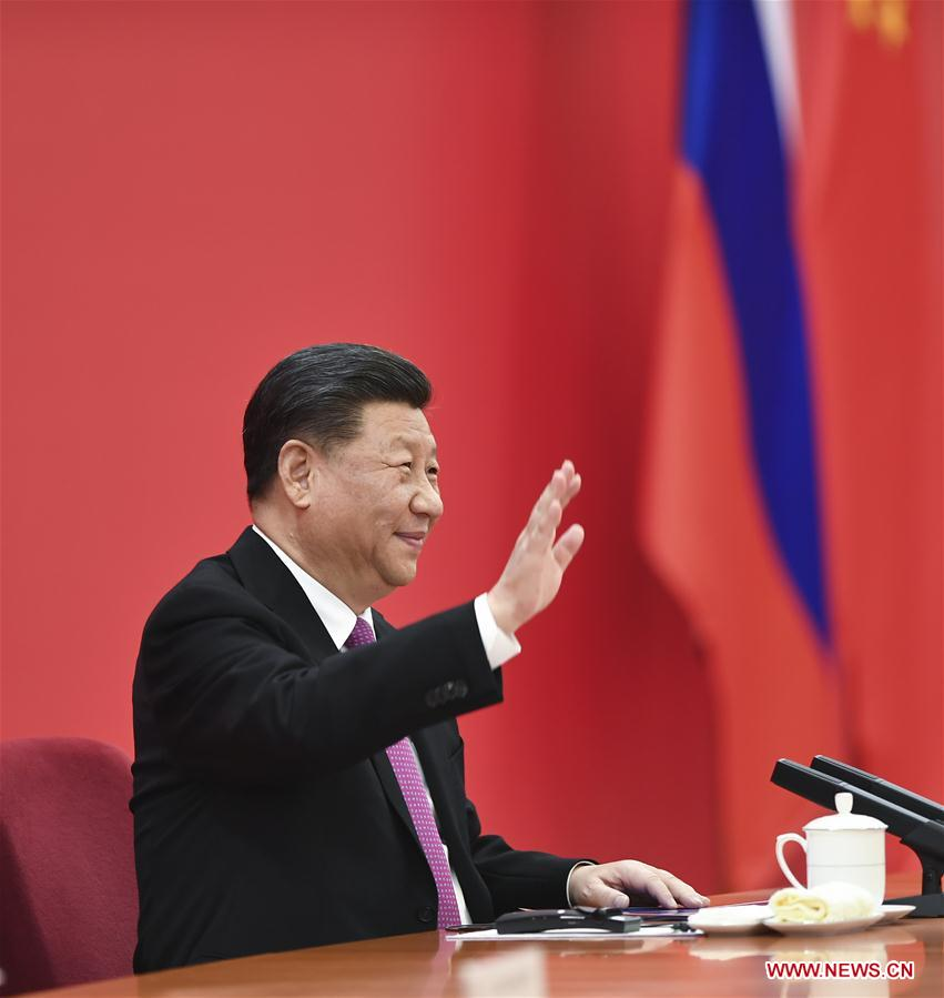 Chinese President Xi Jinping has a video call with his Russian counterpart Vladimir Putin, as the two heads of state jointly witness the launching ceremony of the China-Russia east-route natural gas pipeline, in Beijing, capital of China, Dec. 2, 2019. (Xinhua/Xie Huanchi)