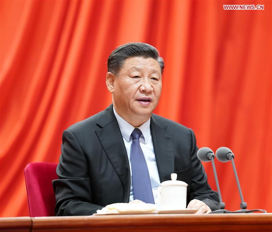 General Secretary of the Communist Party of China (CPC) Central Committee Xi Jinping, also Chinese president and chairman of the Central Military Commission, delivers a speech at the fourth plenary session of the 19th Central Commission for Discipline Inspection of the CPC in Beijing, capital of China, Jan. 13, 2020. (Xinhua/Huang Jingwen)