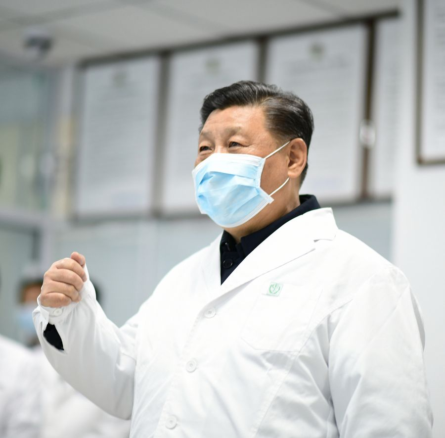 Chinese President Xi Jinping checks the treatment of hospitalized patients at the monitoring center and talks to medical staff on duty via a video link at Beijing Ditan Hospital in Beijing, capital of China, on Feb. 10, 2020. Xi on Monday inspected the novel coronavirus pneumonia prevention and control work in Beijing. (Xinhua/Xie Huanchi)
