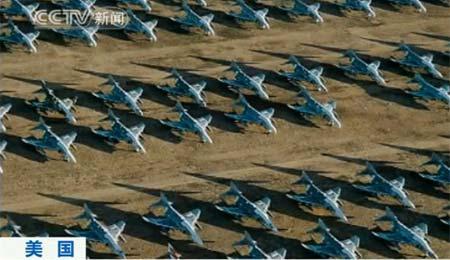 """[视频][美国]空中照片揭秘全球最大""""飞机墓地"""""""