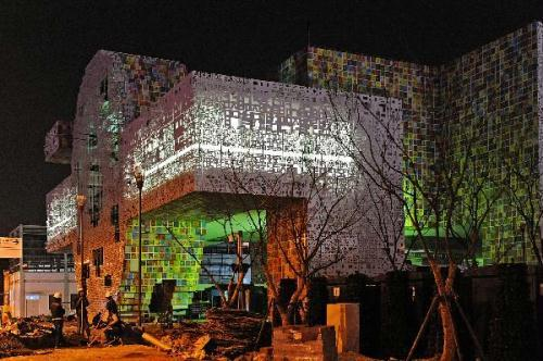 Photo taken on April 7, 2010 shows the illuminated the Republic of Korea Pavilion at Shanghai Expo park during the light debugging, in Shanghai, east China. (Xinhua/Guo Changyao)