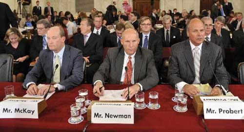 BP America, Inc. President and Chairman Lamar Mckay (L Front), Transocean Limited President and Chief Executive Officer Steven Newman (C Front), and Global Business Lines President and Halliburton Chief Health, Safety and Environment Officer Tim Probert (R Front), attend a hearing on offshore oil drilling before the U.S. Senate energy and natural resources committee on Capitol Hill in Washington D.C., capital of the United States, May 11, 2010. (Xinhua/Zhang Jun)