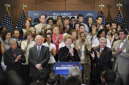 U.S. Senetor Debbie Stabenow (C) hosts a press conference after a key vote on Wall Street accountability legislation on Capitol Hill in Washington D.C., capital of the United States, July 15, 2010. The U.S. Senate voted Thursday to end debate on the historic financial overhaul, setting the stage for final approval of the landmark legislation. (Xinhua/Zhang Jun)