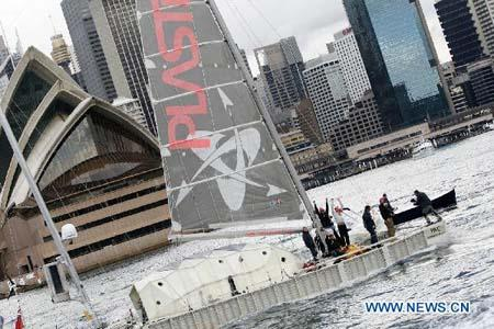 Plastiki, a boat made of 12,500 reclaimed soft drink bottles, approaches Sydney Harbour in Australia, July 26, 2010. After an epic four-month voyage, the vessel arrived in Sydney on Monday from San Francisco of the United States. (Xinhua/Chen Lu)