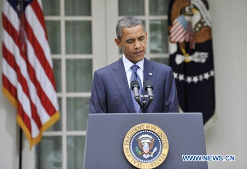 U.S. President Barack Obama makes a statement to the media after a bipartisan meeting with Congress members in the Rose Garden of the White House in Washington D.C., capital of the United States, July 27, 2010. (Xinhua/Zhang Jun)