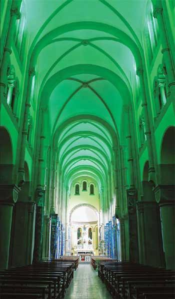 Vaulted ceilings feature grandly inside the Sheshan Basilica. Provided to China Daily