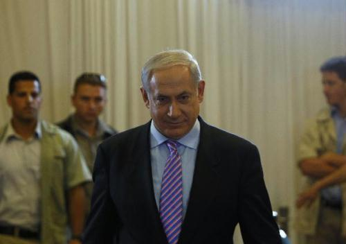 Israeli Prime Minister Benjamin Netanyahu arrives at the Reut Hall of the Yitzhak Rabin Guest House to testify before a state-appointed inquiry into the Israeli naval raid on a Gaza-bound aid flotilla, in Jerusalem Aug. 9, 2010. The Turkel committee, an investigation panel into Israeli Navy's raid on a Gaza-bound aid flotilla in late May, started its first round of inquiring of Israeli senior officials on Monday. (Xinhua/POOL/Ronen Zvulun)