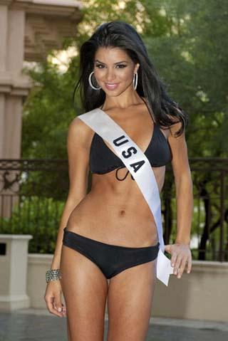 Miss USA Rima Fakih poses in her swimsuit during the registration and fitting process in preparation for the Miss Universe 2010 Competition at Mandalay Bay Hotel and Casino in Las Vegas, Nevada August 8, 2010. [Agencies]