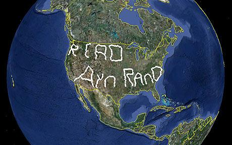 "(Photo:  Enormous Google Earth image ""Read Ayn Rand"", created by Nick Newcomen, the US 'GPS artist' with 12,238 miles' drive in US./CNTV.cn)"