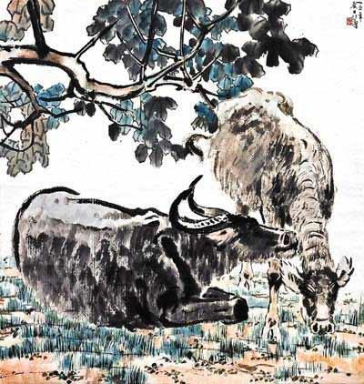 处身树下或卧躺休息,或低首啃草,一片自然安详,乃农村风貌之剪影,流露