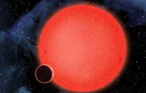 画家描绘出的GJ1214b行星和其围绕的红矮星网页截图