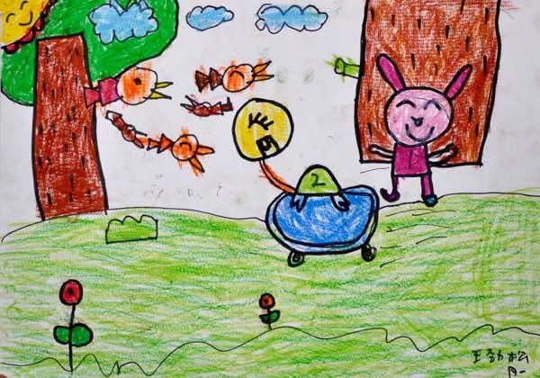城堡式幼儿园绘画