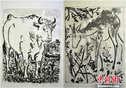毕加索版画亮相新疆 动物题材生动可爱