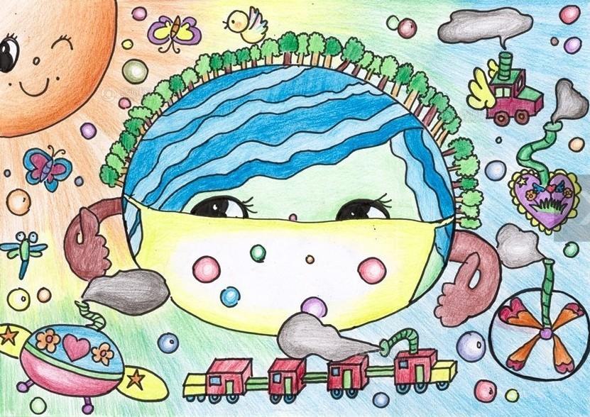 帮地球妈妈摘口罩 曹潇凡 8岁; 儿童绘画作品呼吁保护环境.图片