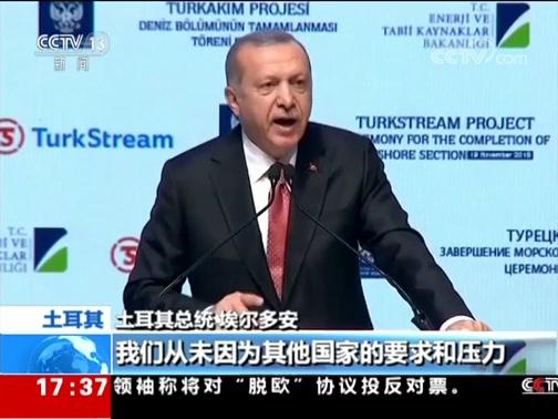 """[新闻直播间]土耳其 """"土耳其溪""""天然气管道项目 土俄总统出席海底工程竣工仪式"""