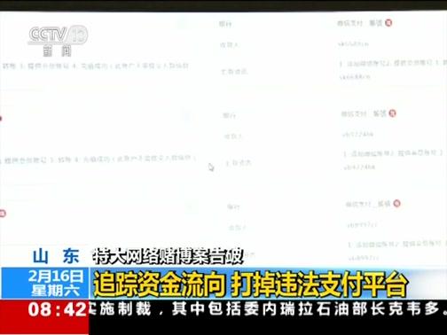 [朝闻天下]山东 特大网络赌博案告破 追踪资金流向 打掉违法支付平台
