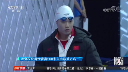 [游泳]洪金权获得世青赛200米自由泳第八名