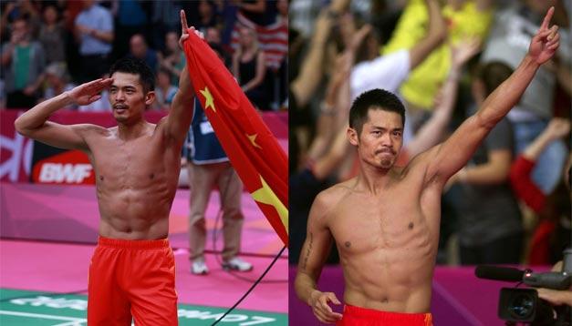 <br>林丹卫冕奥运会男单冠军 脱衣庆祝
