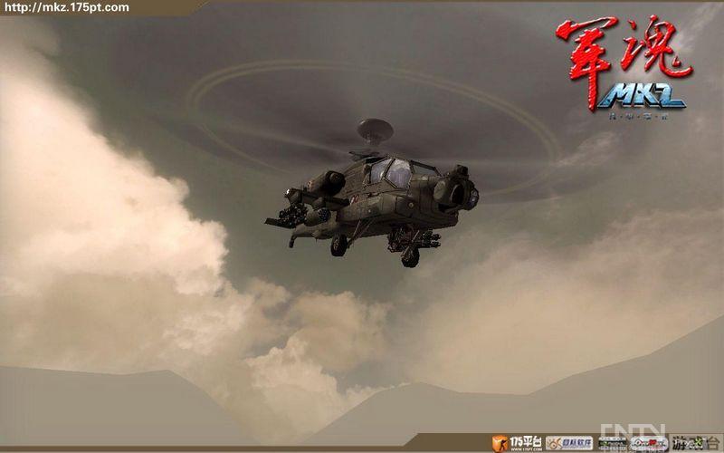 mkz 军魂 游戏中的阿帕奇武装直升机,飞翔天空 高清图片