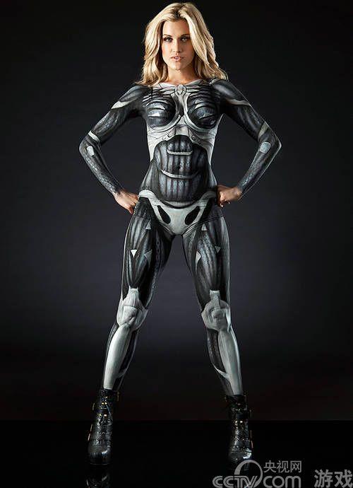 美女版纳米战士 《孤岛危机3》创意人体彩绘赏