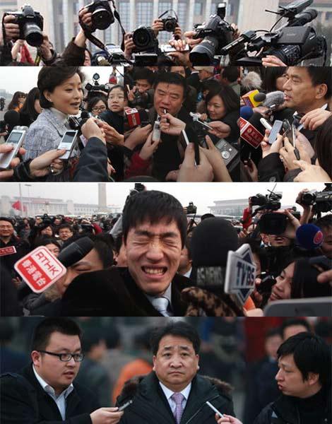 政协委员入场前遭媒体围追堵截,寸步难行。