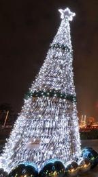 废弃矿泉水瓶搭圣诞树图片