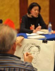 一支毛笔,一张画纸,政协委员倪萍的素描画像跃然纸上。昨日下午,在文艺界的分组讨论结束后,全国政协委员、中国国家画院一级美术师李延声拿起画笔,现场为同为政协委员的倪萍画像。