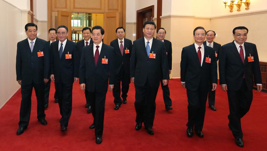 胡锦涛、习近平等领导人出席第十二届全国人民代表大会第一次会议开幕会
