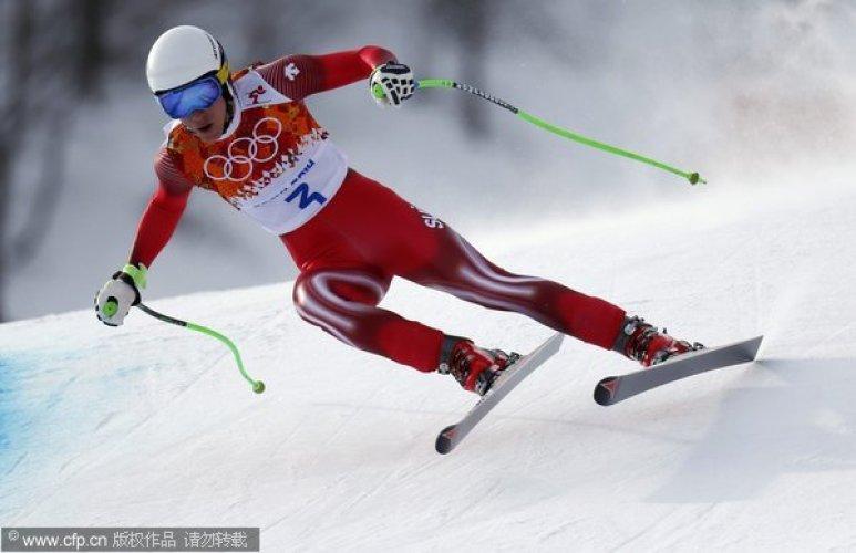 [高清组图]冬奥高山滑雪男子速降 梅耶尔夺冠