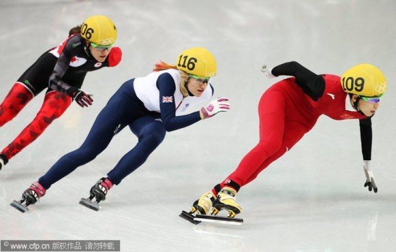 [高清组图]短道速滑女子500米1/4决赛 中国三将晋级