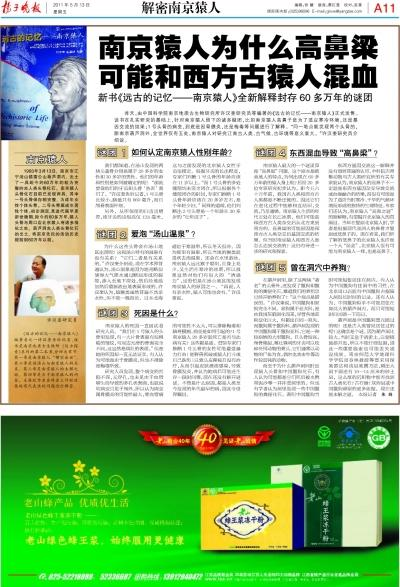 扬子晚报2011年5月13日报道南京猿人的版面