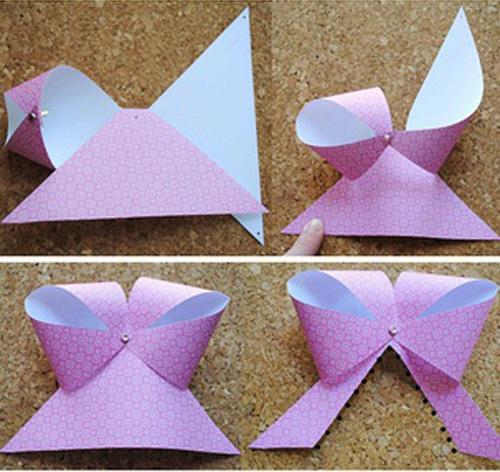 清新简约的蝴蝶结剪纸方法图解