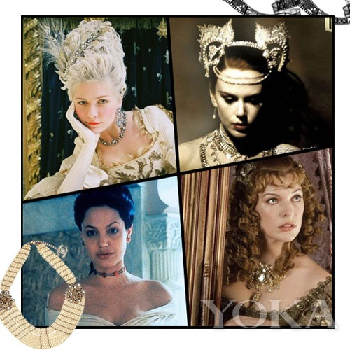 欧洲古代电影最常出现的巴洛克风格繁复夸张项链,奢华珠宝