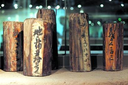 博物馆陈列的部分木桩上墨书文字和八思巴文戳记。