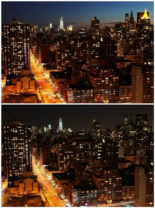 纽约曼哈顿区下城全景熄灯前后。记者杨涛 纽约拍摄