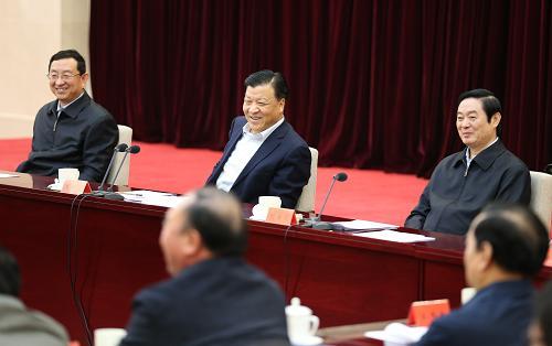 4月8日,中共中央政治局常委、中央书记处书记刘云山在北京出席深化中国梦宣传教育座谈会并讲话。记者 姚大伟 摄