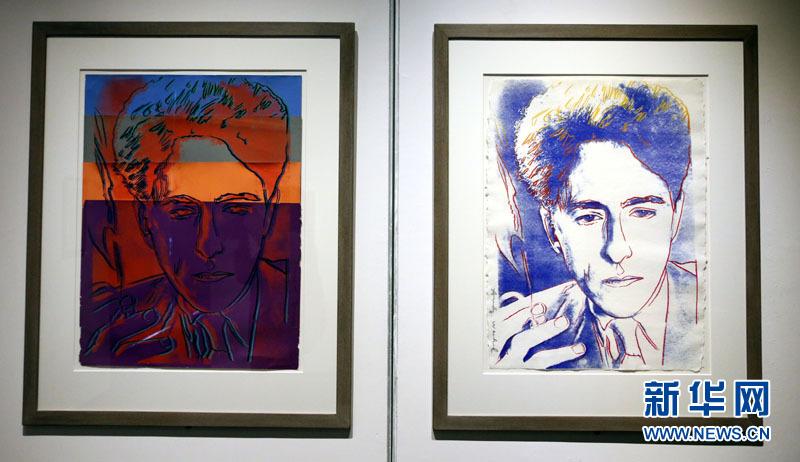 著名波普艺术大师安迪•沃霍尔为尚•高克多创作的肖像作品(5月4日摄)。