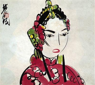 林风眠在约上世纪40年代创作的《女半身像》。