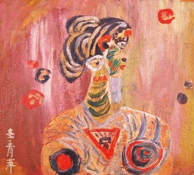 戏剧人物系列夹板油画,1980年代早期