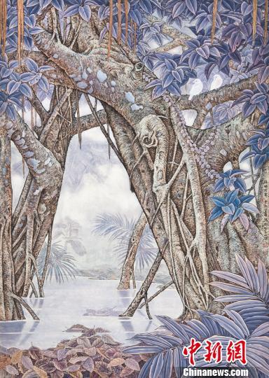 中央文史研究馆馆员金鸿钧所作的《榕林雨霁》 石龙洪 摄