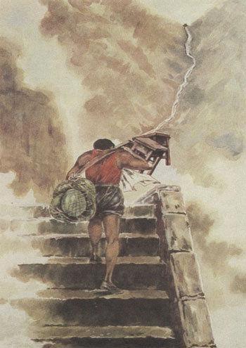 (课文《挑山工》的插图被网友恶搞地加上新标题:《师父大师兄二师兄都被抓走了》。)