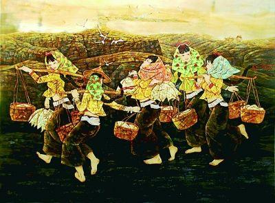 他的漆画作品题材丰富,人物,风景,花鸟以及实验性漆作品无所不包.