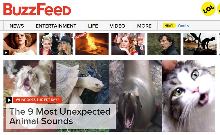 "(Buzzfeed的网站首页看起来甚至有点凌乱,突出了网络快餐文化的元素,虽然""News""的标签放在最首要的位置,不过最受网友欢迎的还是娱乐类文章。)"