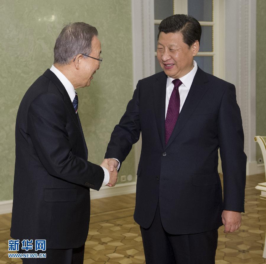 2月7日,国家主席习近平在俄罗斯索契会见联合国秘书长潘基文。记者 黄敬文 摄