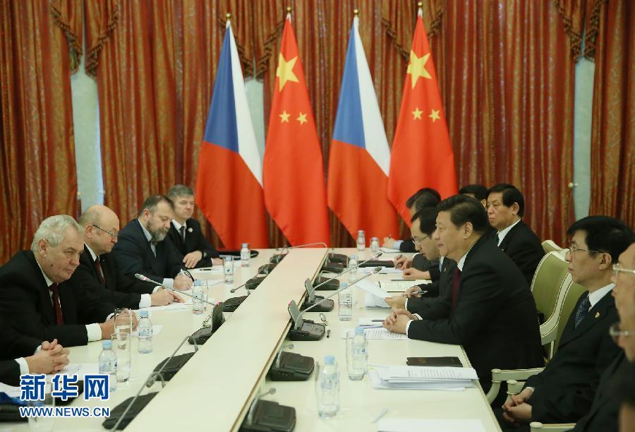 2月7日,国家主席习近平在俄罗斯索契会见捷克总统泽曼。记者 兰红光 摄