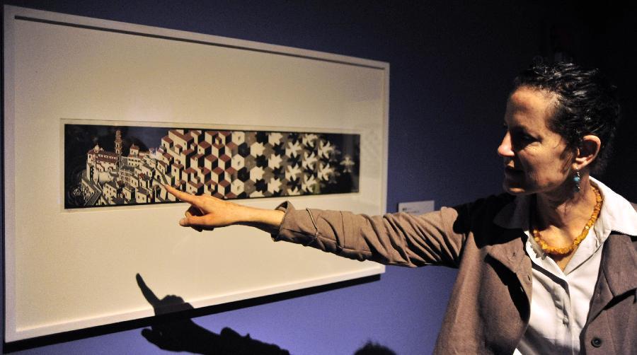 (2)2月26日,策展人在台北故宫图书文献大楼介绍荷兰艺术家艾雪的粉笔上色木刻版画《变形(一)》。