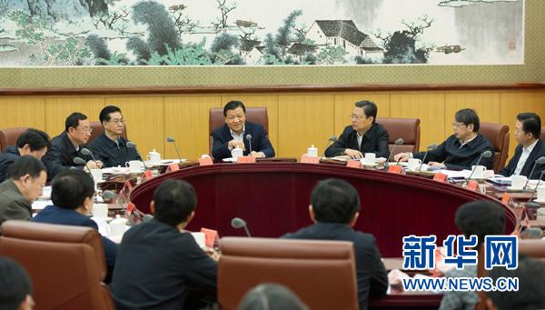 3月22日,中共中央政治局常委、中央党的群众路线教育实践活动领导小组组长刘云山在北京主持召开中央党的群众路线教育实践活动领导小组会议。记者 黄敬文 摄