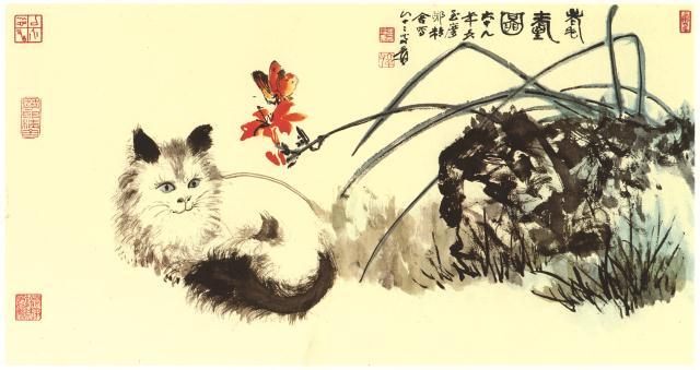 张大千 《耄耋图》 国画 48.6cmx93cm 1980年